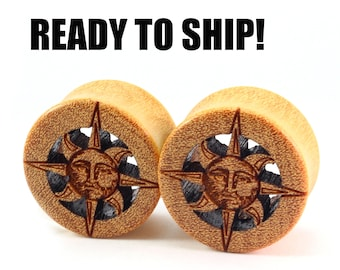 "READY TO SHIP 7/8"" (22mm) Yellowheart Sun Cutout Wooden Plugs - Nature Lover - Premade Gauges Ship Within 1 Business Day!"
