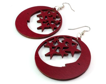 "Moon and Stars Sustainable Wooden Hook Earrings - Sustainably Harvested Red or Black Stained Maple, Oak, Walnut - Dangle Drop - large (2"")"