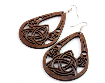 Celtic Teardrop Earrings made of Sustainable Walnut, Oak, Red-Stained Maple, Black-Stained Maple Wood - Hook Dangle Tear Drop - 2 Sizes