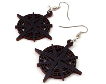 Compass Rose Sustainable Wooden Earrings - in Black-Stained Maple - Nautical Wood Dangle Hook Earrings - in 2 Sizes