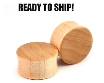 "READY TO SHIP - 7/8"" (22mm) Maple Blank Wooden Plugs - Pair - Premade Gauges Ship Within 1 Business Day!"