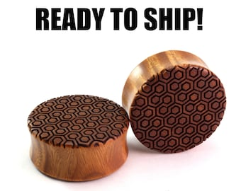 "READY TO SHIP - 1 3/16"" (30mm) Lignum Vitae Honeycomb Pattern Wooden Plugs - Pair - Premade Gauges Ship Within 1 Business Day!"