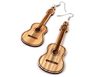 Guitar Wooden Hook Earrings in Oak - Sustainably Harvested Wooden Dangle Earrings - 2 Sizes - Musician / Music Lover Gift