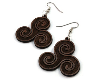 Celtic Triskelion Earrings made of Sustainable Walnut, Oak, Red-Stained Maple, Black-Stained Maple Wood - Hook Dangle Drop - 3 Sizes