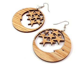 "Moon and Stars Sustainable Wooden Hook Earrings - Sustainably Harvested Oak, Walnut, Red or Black Stained Maple - Dangle Drop - Large (2"")"