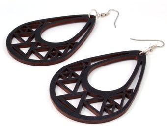 Triangle Teardrop Hook Earrings in Black Stained Maple - 2 Sizes Available - Sustainably Harvested Wooden Dangle Earrings - Gift for Her