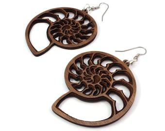 Ammonite Natural Wood Hook Earrings - Sustainable Oak, Walnut, Red or Black Stained Maple - BeardArt (Matt Beard) Nautilus Design - 3 Sizes
