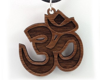 Om Wooden Pendant - Walnut - Sustainable Wood Jewelry - 2 Sizes - SHIPS FREE