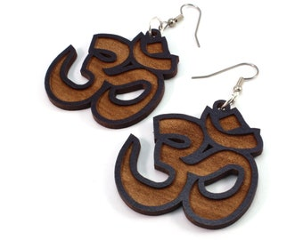 Om Symbol Sustainable Wooden Earrings - in Black-Stained Maple - Wood Dangle Hook Earrings - 3 sizes - Yogi Gift Idea