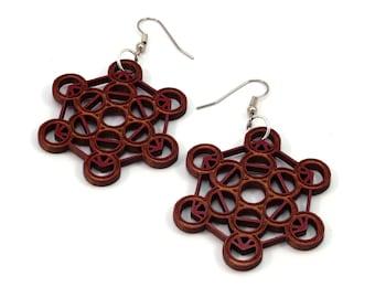Metatron Cube Wooden Hook Earrings - in Red Stained Maple, Black Stained Maple, Walnut, Oak - Dangle Drop