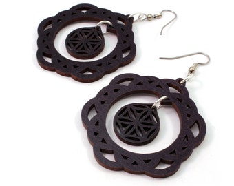 2-Part Flower of Life Sustainable Wooden Earrings - in Black Stained Maple - Sacred Geometry