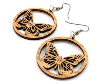 "Sustainable Wooden Earrings - Monarch Butterflies - in Oak, Walnut, Red or Black-Stained Maple - Small (1.5"") -  Boho"