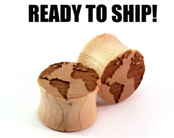 "READY TO SHIP - 5/8"" (16mm) Maple Globe Wooden Plugs - Pair - Premade Gauges Ship Within 1 Business Day!"
