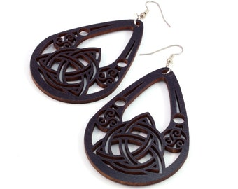 Celtic Teardrop Earrings made of Sustainable Black-Stained Maple, Red-Stained Maple, Walnut, and Oak Wood - Hook Dangle Tear Drop - 2 Sizes