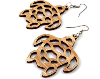 Simple Sea Turtle Wooden Hook Earrings - in 2 Sizes - Oak, Walnut, Red Stained Maple or Black Stained Maple Wood - Sea Life