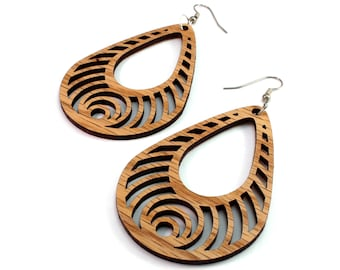 Bass Ripple Teardrop Hook Earrings in Oak - 2 Sizes Available - Sustainably Harvested Wooden Tear Drop Dangle Earrings