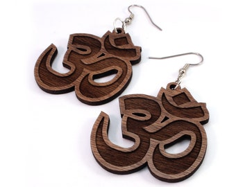 Om Symbol Sustainable Wooden Earrings - in Walnut - Wood Dangle Hook Earrings - 3 sizes