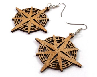 Compass Rose Sustainable Wooden Earrings - in Oak - Nautical Wood Dangle Hook Earrings - Gift for Her - in 2 Sizes