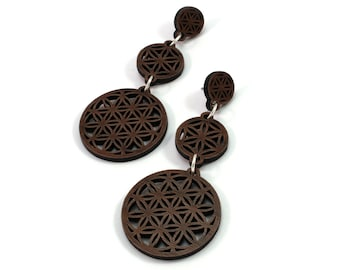 Sustainable Wooden Earrings - Sacred Geometry 3-Part Post Earrings - in Walnut - Flower of Life