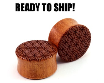 "READY TO SHIP - 7/8"" (22mm) Osage Orange Flower of Life Wooden Plugs - Pair - Premade Gauges Ship Within 1 Business Day!"