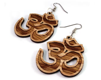 Om Symbol Sustainable Wooden Earrings - in Oak - Wood Dangle Hook Earrings - 3 sizes - Yogi Gift Idea