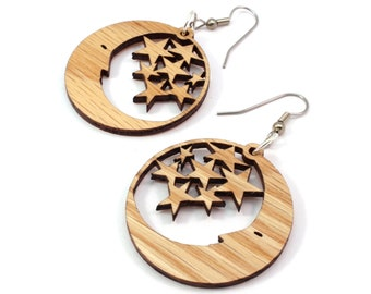 "Sustainable Wooden Hook Earrings - Moon and Stars - Small (1.5"") - Oak, Walnut, Red Stained Maple, Black Stained Maple"