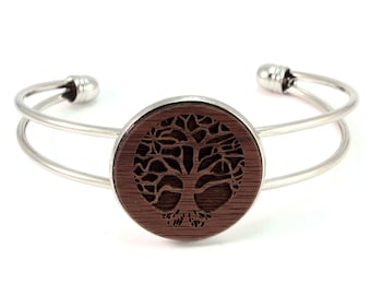 Cuff Bracelet with Sustainably-Harvested Walnut Wooden Tree of Life Disc - 2 Finishes