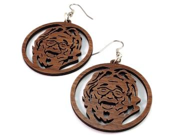 """Jerry Garcia Sustainable Wooden Hook Earrings - Walnut - 1.75"""" - Dead Head Gift Idea"""