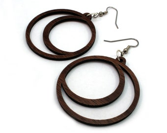 Sustainable Wooden Hook Earrings - Crescent Moons - in Walnut, Oak, Red-Stained Maple, or Black-Stained Maple Wood - 2 Sizes