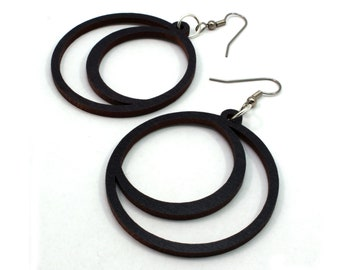Sustainable Wooden Hook Earrings - Crescent Moons - in Black-Stained Maple, Walnut, Red-Stained Maple, or Oak Wood - 2 Sizes