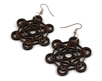 Metatron Cube Wooden Hook Earrings - in Walnut, Oak, Red Stained Maple, Black Stained Maple - Dangle Drop