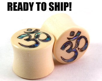 "READY TO SHIP 1/2"" (13mm) Holly Wooden Plugs with Abalone Om Inlay - Pair - Premade Gauges Ship Within 1 Business Day!"