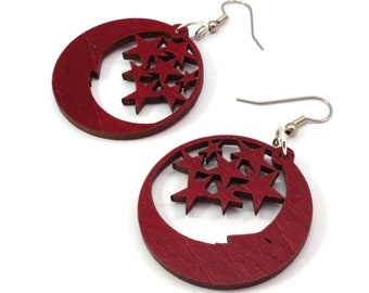 "Sustainable Wooden Hook Earrings - Moon and Stars - Small (1.5"") - Red Stained Maple, Black Stained Maple, Walnut, Oak"