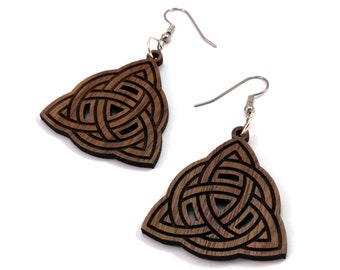 Celtic Trinity Knot Earrings made of Sustainable Walnut, Oak, Red-Stained Maple, Black-Stained Maple Wood - Hook Dangle Earrings - 3 Sizes