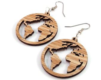 "Globes - Sustainable Wooden Hook Earrings - 1.5"" (3 Sizes Available) - Oak - Travels / Explorer / Earth Day - Dangle Drop Wood Earrings"