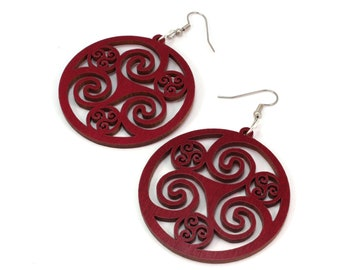 Celtic Hoop Earrings made of Sustainable Red-Stained Maple - Hook Dangle Drop Earrings - 3 Sizes