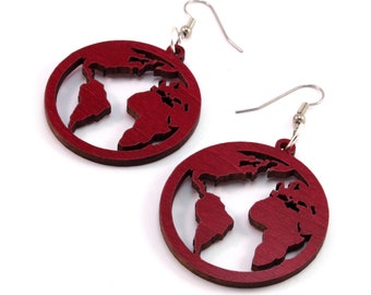 "Globes - Sustainable Wooden Hook Dangle Drop Earrings - 1.5"" - 3 Sizes - Red-Stained Maple - Lightweight - Travels / Explorer - Gift for Her"