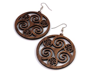 Celtic Hoop Earrings made of Sustainable Walnut - Hook Dangle Drop Earrings - 4 Colors - 3 Sizes