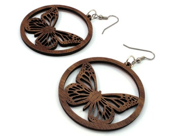 "Monarch Butterfly Sustainable Wooden Hook Earrings (2"" or 1.5"") - Walnut, Oak, and Black or Red-Stained Maple Wood Dangle Earrings"