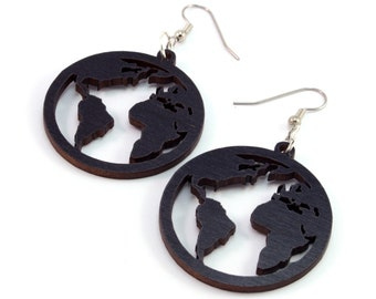 "Globes - Sustainable Wooden Hook Dangle Drop Earrings - 1.5"" (3 Sizes Available) - Black-Stained Maple - Travels / Explorer - Earth Day"