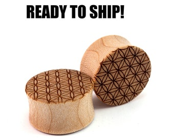 """READY TO SHIP - 7/8"""" (22mm) Maple Flower of Life Wooden Plugs - Stocking Stuffer - Premade Gauges Ship Within 1 Business Day!"""