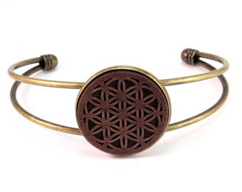 Cuff Bracelet with Sustainably-Harvested Walnut Wooden Flower of Life Disc - Sacred Geometry