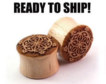 "READY TO SHIP - 5/8"" (16mm) Maple Grateful Flower Wooden Plugs - Premade Gauges Ship Within 1 Business Day!"