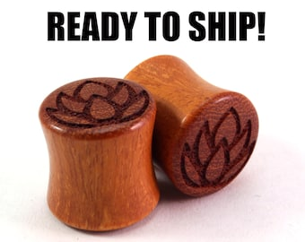 "READY TO SHIP 1/2"" (12mm) Osage Orange Lotus Wooden Plugs - Premade Gauges Ship Within 1 Business Day!"