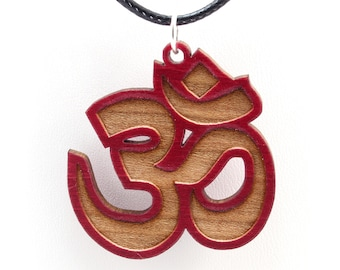 Om Wooden Pendant - Red Stained Maple - Sustainable Wood Jewelry - 2 Sizes - Gift for Her - Gift for Him - Yogi Gift Idea