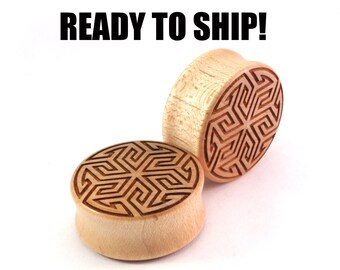 "READY TO SHIP 1 1/8"" (28mm) Maple Maze of Life Wooden Plugs - Gift Idea - Premade Gauges Ship Within 1 Business Day!"
