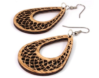 "Teardrop Dreamcatcher Wooden Hook Earrings in Oak - Small (2"") - Sustainably Harvested Wood Dangle Earrings"