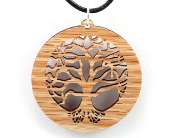 Tree of Life Wooden Pendant - Oak - Sustainable Wood Jewelry - 2 Sizes - SHIPS FREE