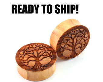 "READY TO SHIP - 1 1/4"" (32mm) Olivewood Tree of Life Wood Resin Stain Wooden Plugs - Pair - Premade Gauges Ship Within 1 Business Day!"