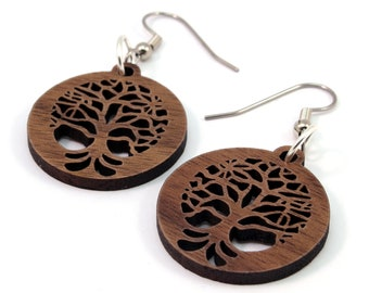 "Small Tree of Life Sustainable Wooden Hook Earrings - One Inch (1"") in Walnut - Dangle Drop Wood Earrings"